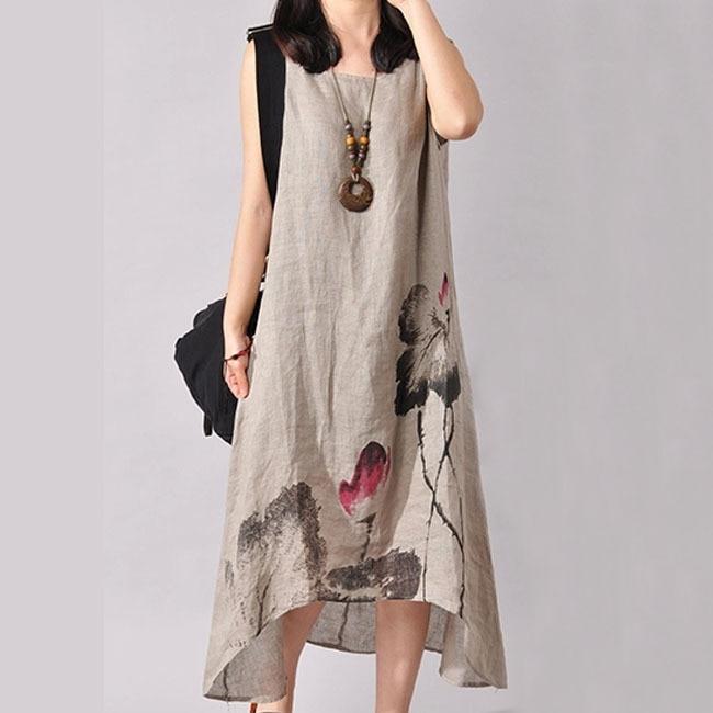 Linen Vintage Long Maternity Dresses Clothes For Pregnant