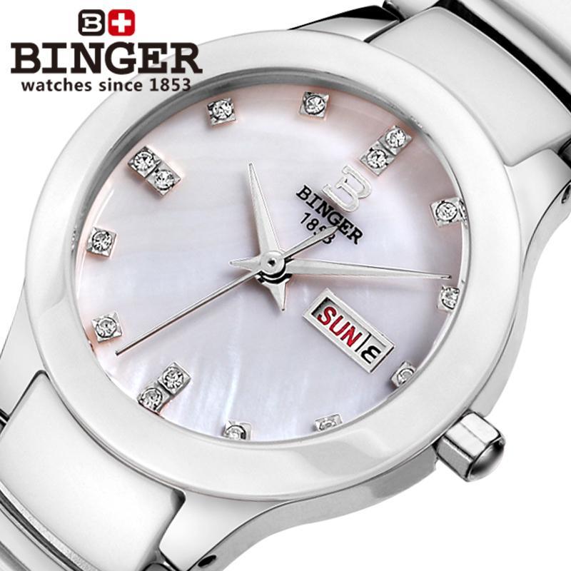Switzerland Binger ceramic wristwatches Women fashion quartz watch rhinestone Lovers watches 100M Water Resistance B 8007