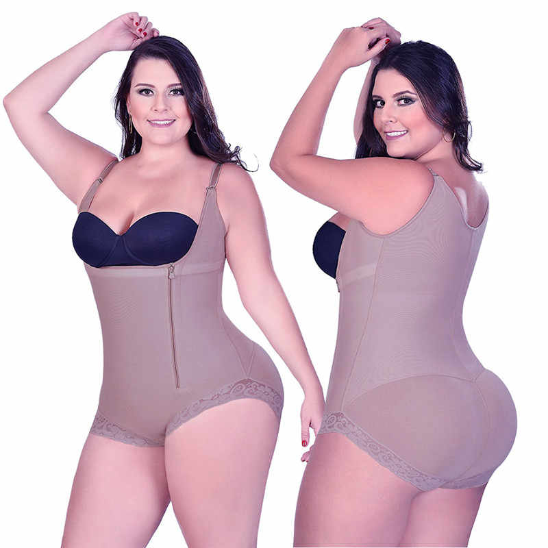 b06119b5c27 ... CR Plus Size 5XL Hot Latex Women s Body Shaper Post Liposuction Girdle  Clip Zip Bodysuit Vest ...