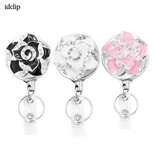 idclip Bling Camellia Flower Badge Reel ID Retractable Holder Belt Clips Metal Heavy Duty Steel Wire Cord