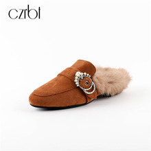 CZRBT Women Winter Spring Mules Flats Shoes With Natural Rabbit Fur and Cow Suede Elegant Metal Decoration Ladies Party Loafers