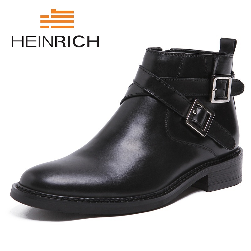 HEINRICH Men Round Toe Ankle Boots Male Fashion Black Leather Shoes Men High Tops Strap Genuine Leather  Boots LaarzenHEINRICH Men Round Toe Ankle Boots Male Fashion Black Leather Shoes Men High Tops Strap Genuine Leather  Boots Laarzen