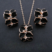 18K Gold Plated Oil Painting Black Flower Jewelry Sets Environmental Alloy With Czech Rhinestone S008 Free