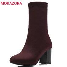Женские эластичные ботинки MORAZORA, однотонные ботильоны для женщин на высоком каблуке, Осенняя обувь, 2020