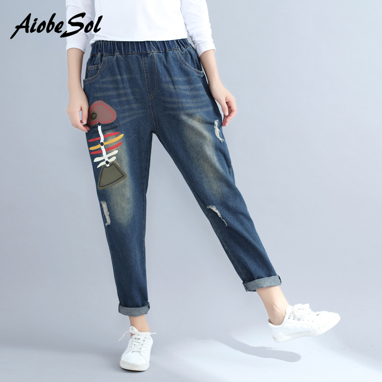 Plus Size Boyfriend Elastic Waist Loose Harem Jeans Autumn Winter New Vintage Ripped Printed Women Denim Pants Female Trousers loose ankle length jeans for women 2017 new vintage distressed high waist ripped denim harem pants woman trousers plus size