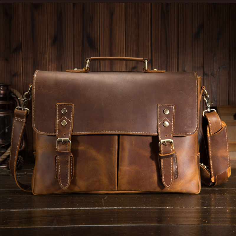Men's Briefcases Crazy Horse Leather Retro Crossbody Shoulder Briefcase 9091 Leather Laptop Bag цена