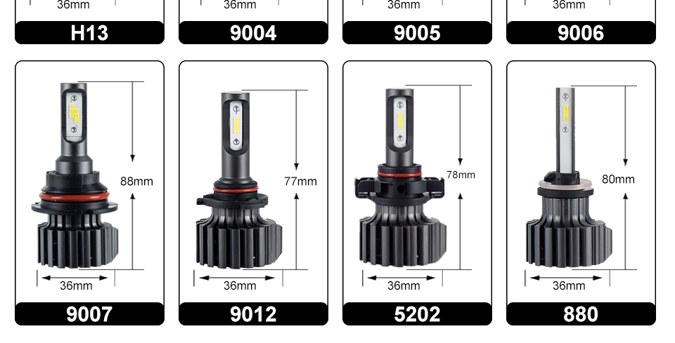 Oslamp H4 H7 H11 H1 H13 H3 9004 9005 9006 9007 9012 COB LED Car Headlight Bulb Hi-Lo Beam 72W 8000LM 6500K Auto Headlamp 12v 24v (7)