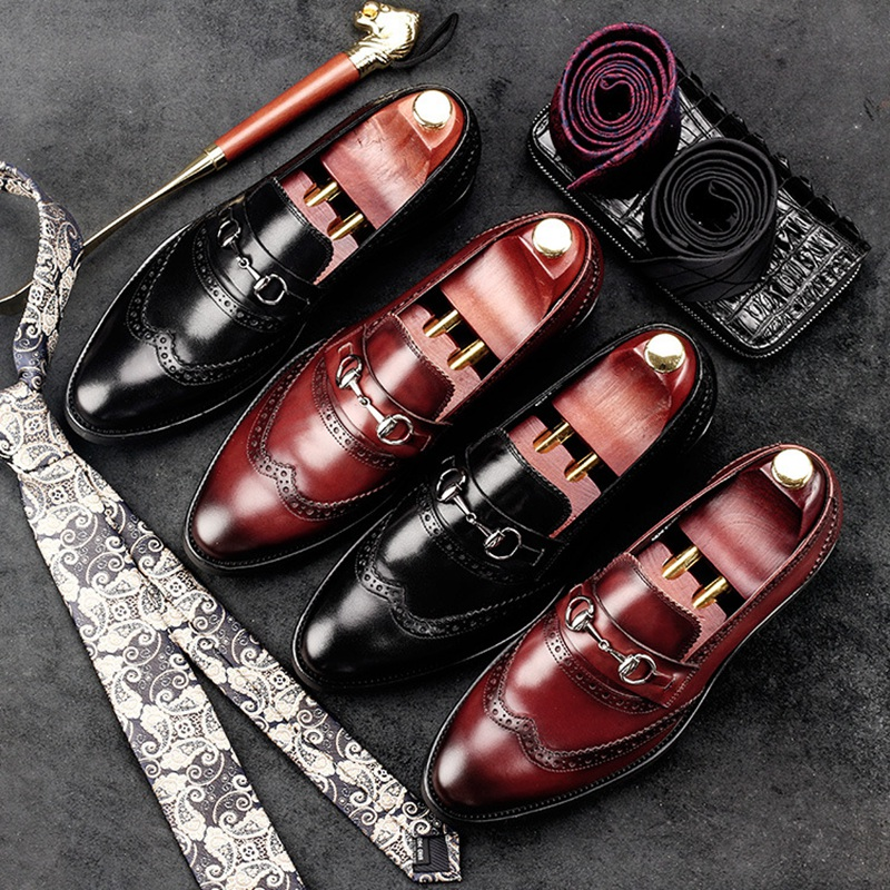Vintage British Round Toe Carved Man Casual Shoes Genuine Leather Handmade Brogue Loafers Men's Height Increasing Flats NE52