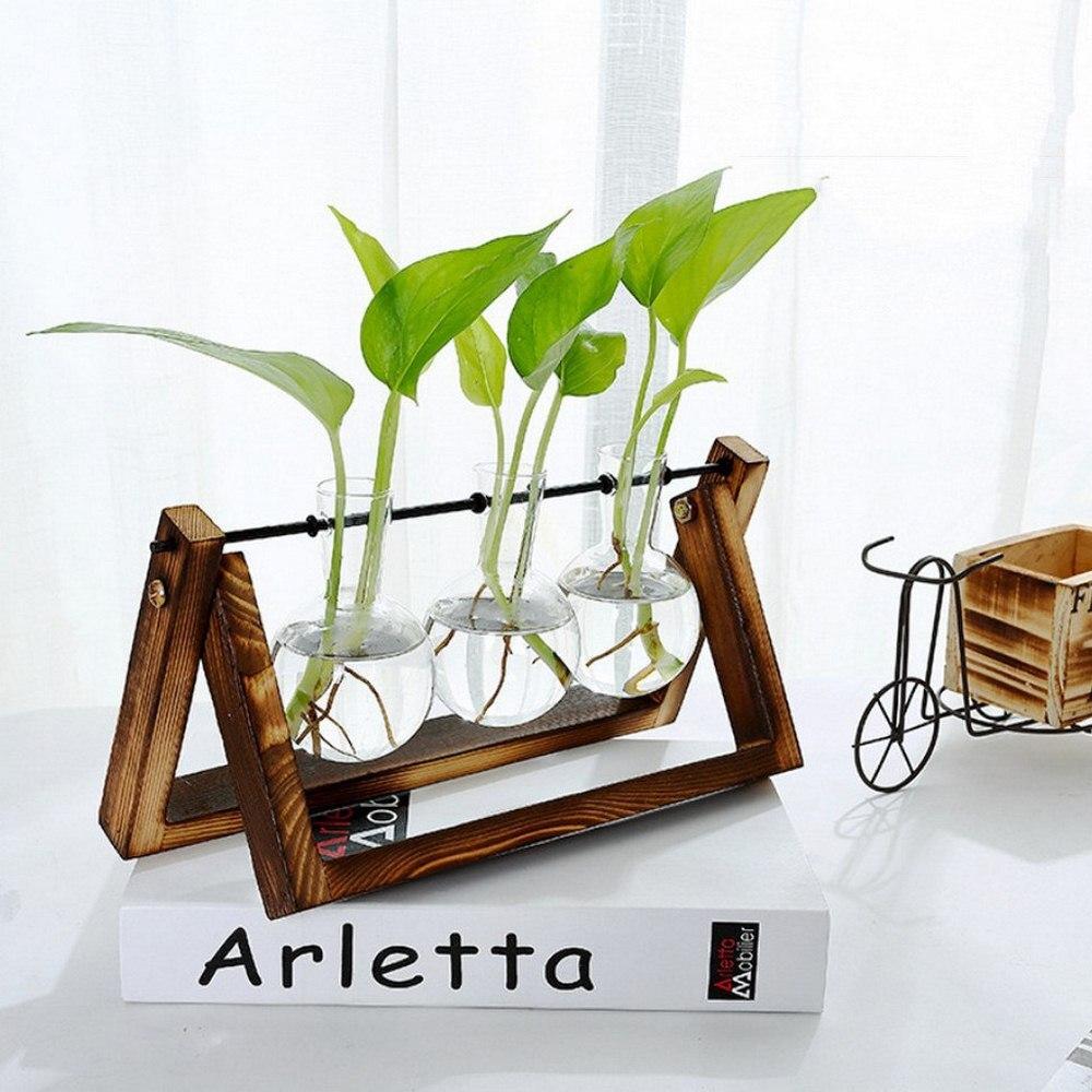 Pot for Flowers Glass and Wood Vase Planter Pot Terrarium Table Desktop Hydroponics Plant Bonsai Flower Hanging Pots Home Decor