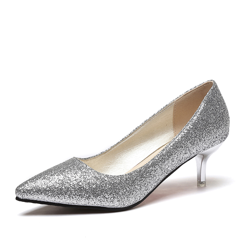 Women wedding shoes silver gold dress shoes pointed toe for Gold dress shoes for wedding