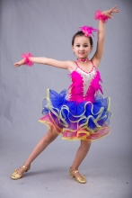 New girls tassel latin dance dress children blue/red sequined tango/rumba costumes dance practice dress competition costumes