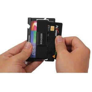 Image 5 - ZEEKER aluminiowa przednia kieszeń na karty etui na dowód Slim Metal mały portfel męski portfele