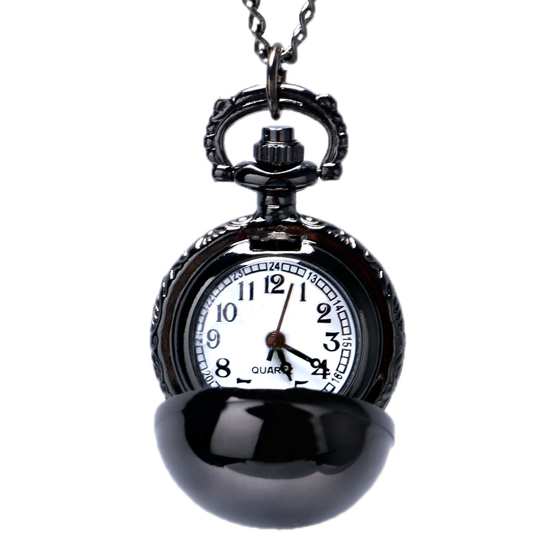 Black Smooth Ball Necklace Pendant Pocket Watch Chain Womens Lady Gift P68 unique smooth case pocket watch mechanical automatic watches with pendant chain necklace men women gift relogio de bolso