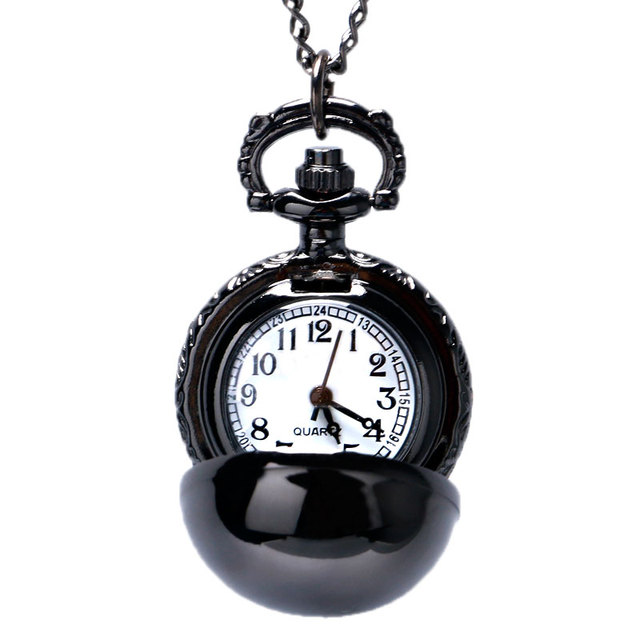 Black Smooth Ball Necklace Pendant Pocket Watch Chain Womens Lady Gift P68