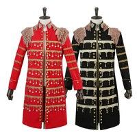 新しいファッション男性スーツブレザージャケット赤黒長いダスターコート男