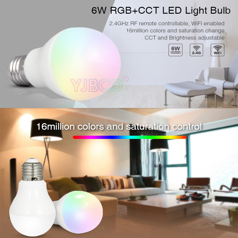Milight FUT014 6W E27 RGB+CCT led bulb lamp smart mobile phone APP WIFI AC85V-265V led light white warm Dimmable Lampada Light
