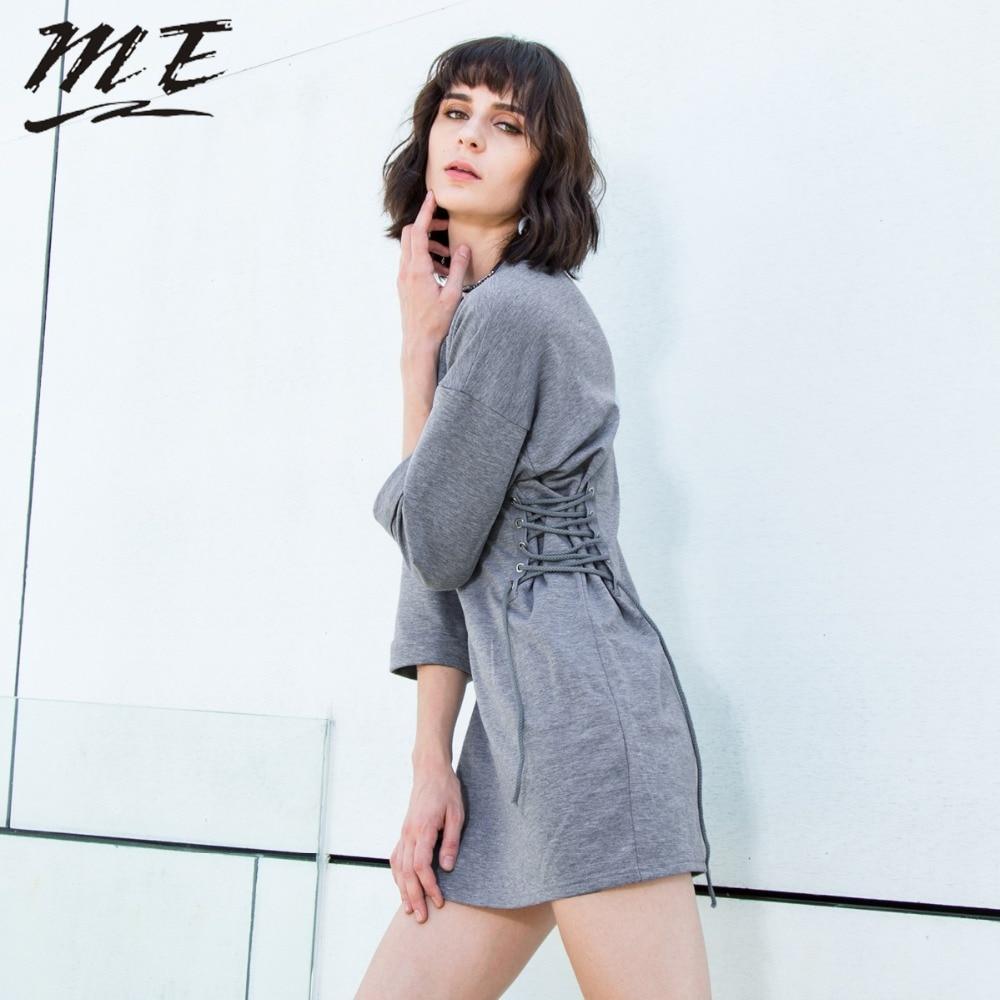 Мне осеннее женское платье осенние пикантные с длинным рукавом со шнуровкой сбоку поясом о-образным вырезом женское платье модные Повседне...