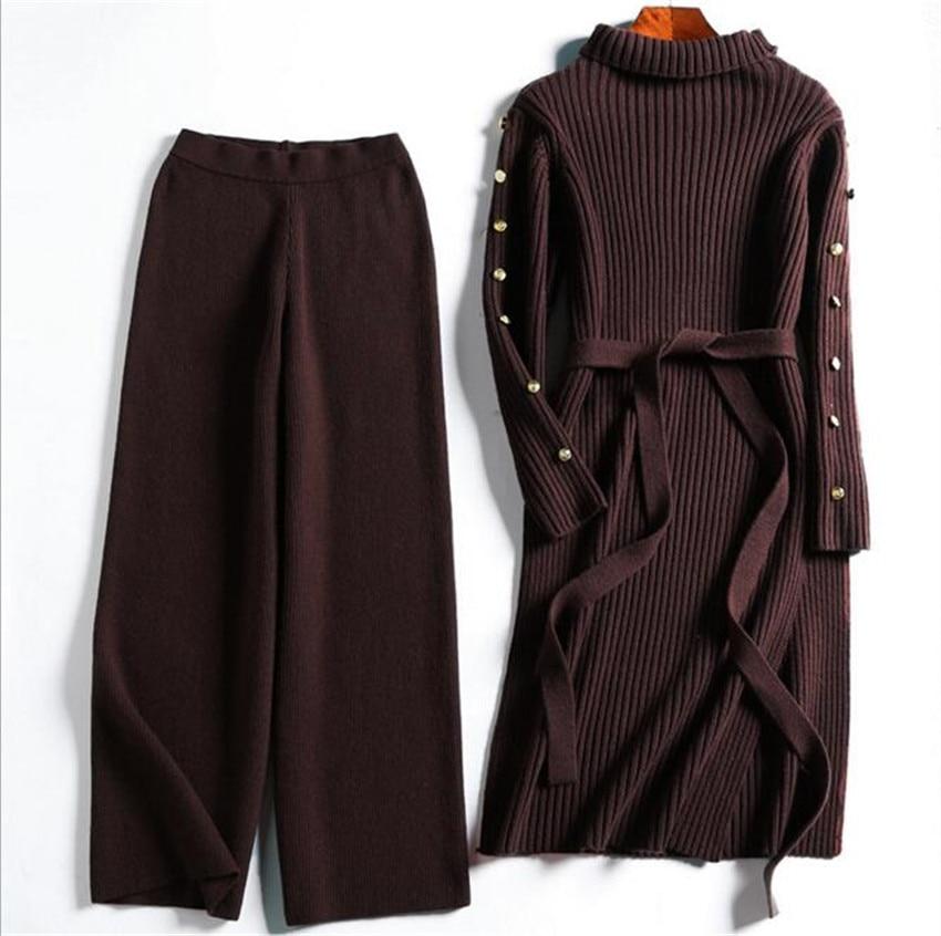 MLCRIYG Eur& U.S 2018 spring new women's long sleeved collar Plush wool knitted dress wide leg pants suit
