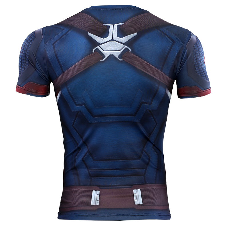 3D Captain America T-shirt Cosplay Avengers Endgame Captain America Costume Avengers 4 Steve Rogers T-shirts Sport Tight Tees3