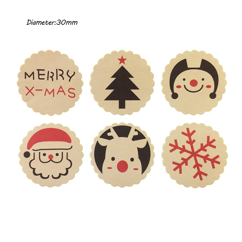 120PCS Merry Christmas  Baking Sealing Sticker Package Label DIY Multifunction