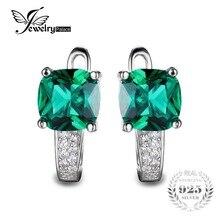 Jewelrypalace cojín 3.1ct esmeralda verde creado nano ruso clip en los pendientes 925 pendientes de plata de ley para las mujeres