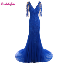 KapokBanyan Real Photo Blue Lace Appliques Deep V Neck Mermaid Prom Dresses 2017 New Sweep Train Short Sleeve Long Party Gowns