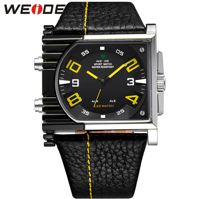 WEIDE Brand Fashion Men Watches Analog Digital Display 30m Waterproof Back Light Leather Strap Watch Birthday And Christmas Gift