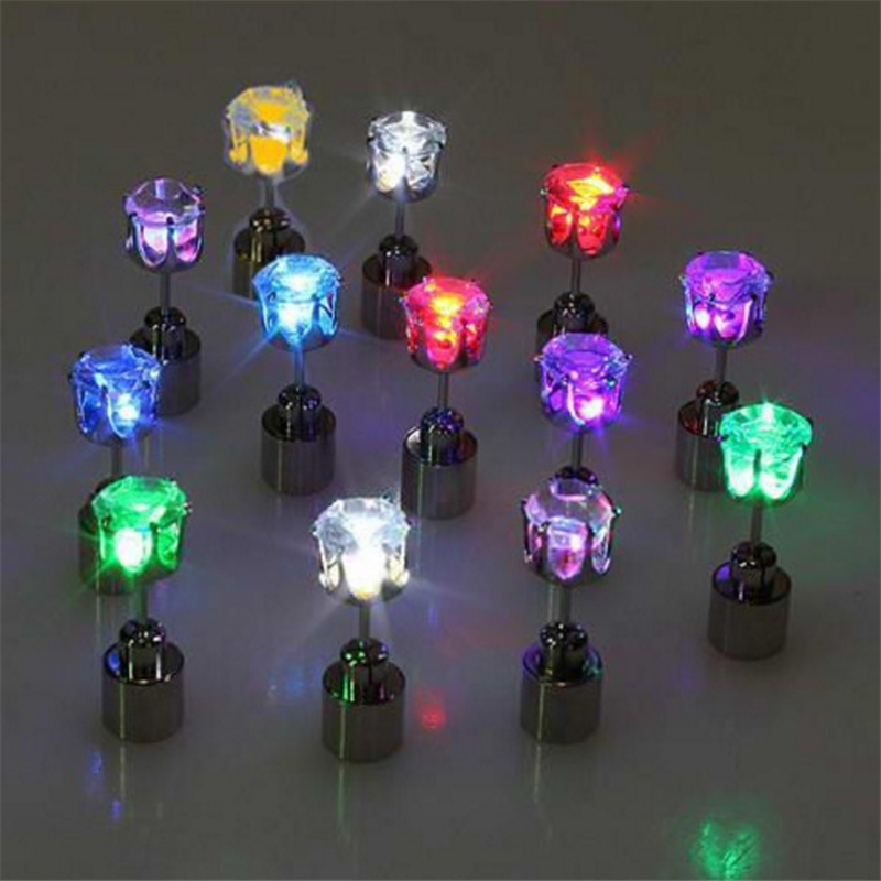 Fashion Men and Women LED luminous Stud Earrings Individuality Current Nightclub Imitation Crystal Earrings