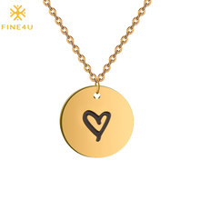 FINE4U N250 Cute Round Coin Pendants Necklaces Stainless Steel Chain Necklace Engraved Love Heart Jewelry Dropshipping(China)