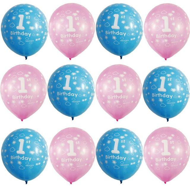 12pcs 12inch One Year Old 1st Latex Balloons first baby Birthday