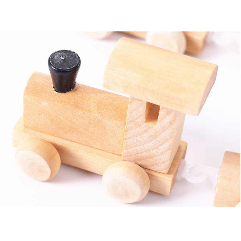 SUKIToy Math Wood Train Figure Model Toy with Number Pattern 0~9 Gift Early Learning Counting Material for Kids 18*8*8.5cm