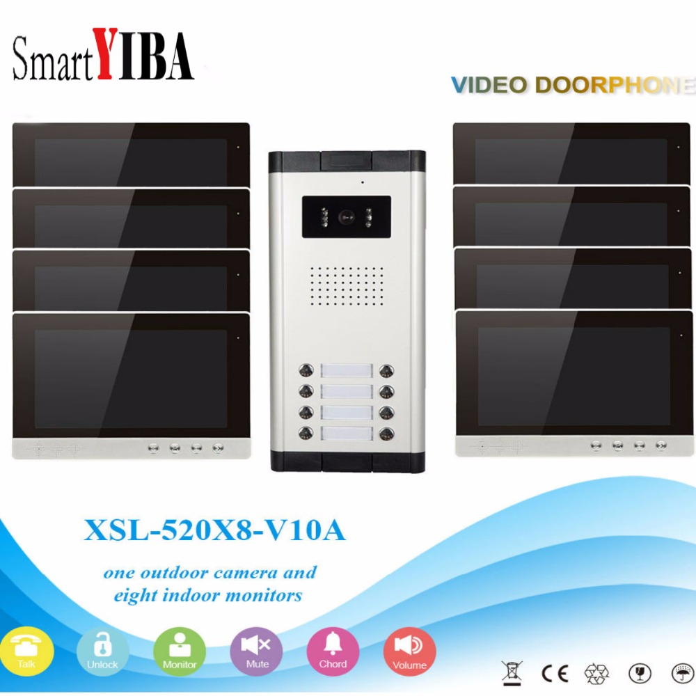SmartYIBA 10Apartment Video Intercom Kits 2 To 12 Units Video Door Phone Home Security Kit For Option With IR Camera Monitor smartyiba 7video door phone doorbell intercom system for 2 units apartment home security kit camera monitor with rfid keyfobs