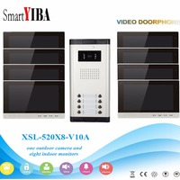 SmartYIBA 10Apartment Video Intercom Kits 2 To 12 Units Video Door Phone Home Security Kit For Option With IR Camera Monitor