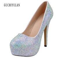 Весна Лидер продаж роскошные с блестящими кристаллами Римские сандалии женская обувь на платформе с высоким каблуком; размеры 34–42 сексуал