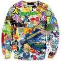 Плюс Размер Новые люди/женская мультфильм пуловеры 3d толстовки 6 Шаблоны Живопись забавный 3d белые Hoodie3XL 4XL 6XL