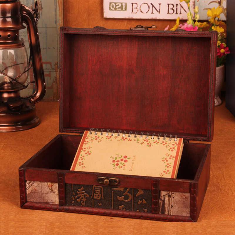 Retro ไม้กล่องเก็บล็อคเครื่องประดับตกแต่งบ้าน Desktop Book Organizer กล่องเครื่องประดับโบราณเครื่องสำอางค์กล่องในครัวเรือน