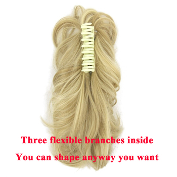 Soowee 10 Colors Wavy Hairpieces Claw Ponytail Synthetic Hair Blonde Gray Little Pony Tail Clip In Hair Extension 2