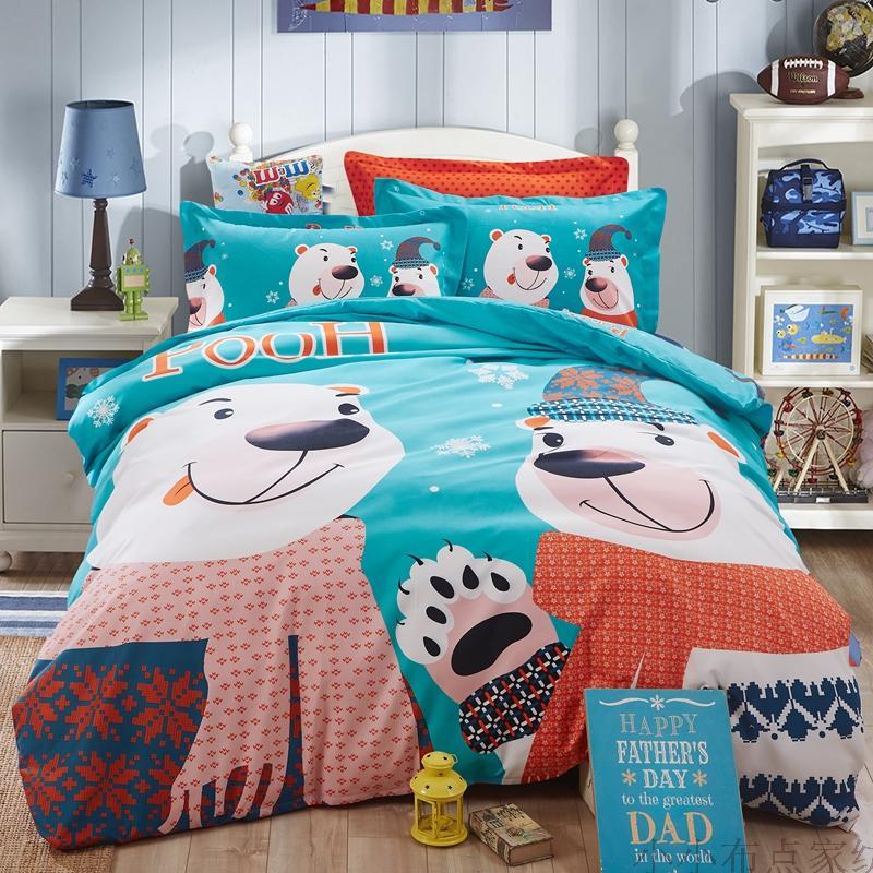 2015 Winter Kids Bedding set cartoon Printing Minions bedclothes Baby children bed linen king queen twin full duvet cover set