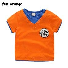 984b3f9223 Divertido naranja 2018 nuevo verano niños niñas Funny Goku camisetas niños  Dragon Ball camisetas para bebés