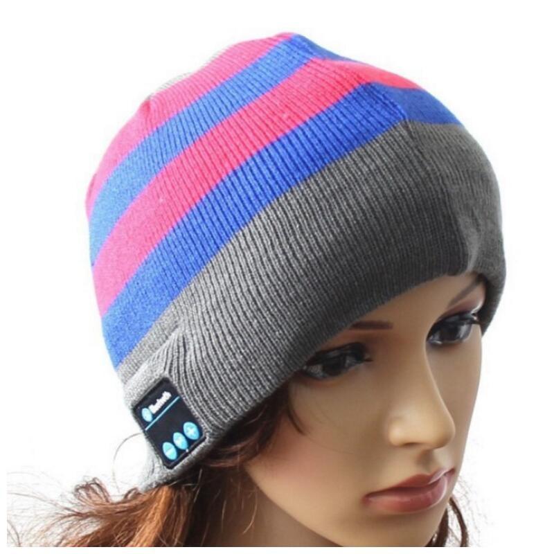 Беспроводной Bluetooth V4.2 Beanie для мальчиков и девочек, мужчин и женщин, вязаная зимняя шапка для наушников, ручной Mp3 микрофон, волшебная музыка, умная шапка+ подарочная коробка - Цвет: Grey Blue Striped