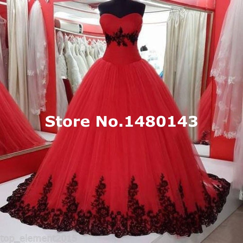 Real Picture Beautiful Black and Red White Ivory Tulle Ball