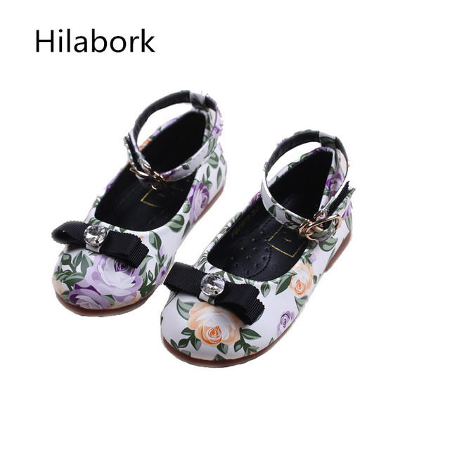 2017 children's shoes spring girls flat heel shoes girls flowers sets of feet single shoes bows children's students sweet shoes