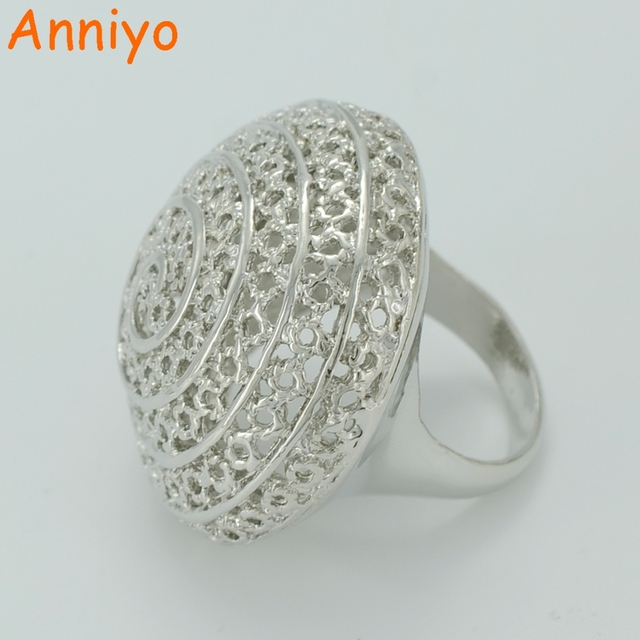 Anniyo African Big Ring for WomenDark Silver Color Ethiopian