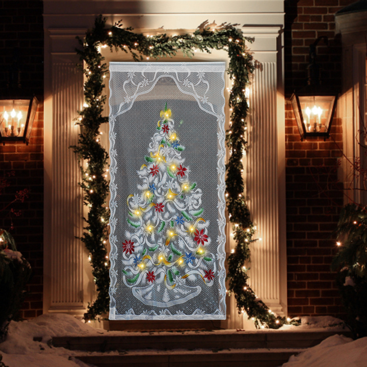 """40x84"""" Christmas LED Light Up Lace Window Curtain Door Cloth Christmas Party Decor White Translucent Lace Fabric Wavy Edges"""