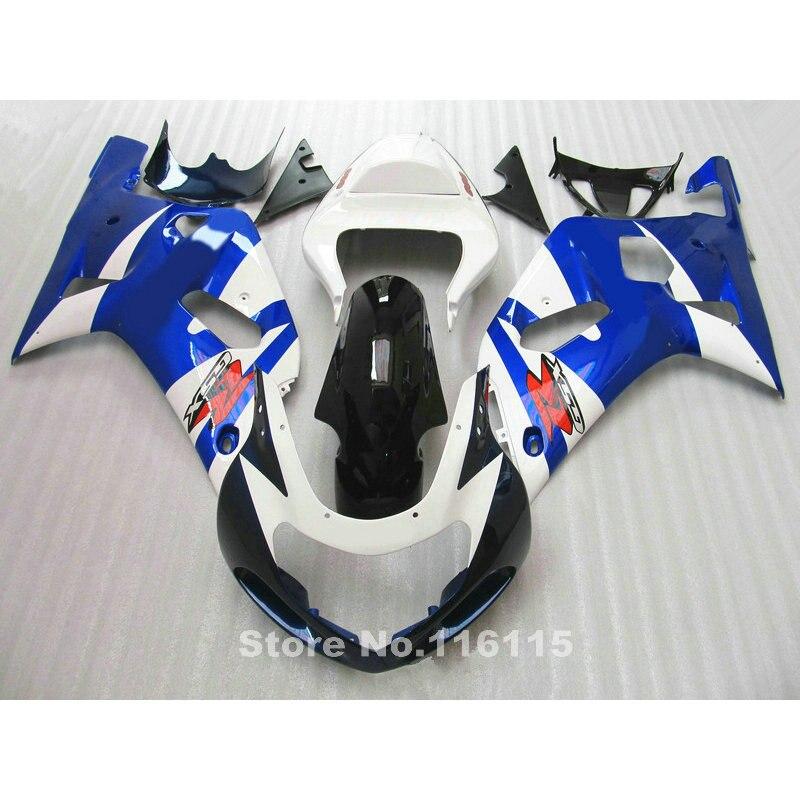 Kit de carenado de motocicleta para Suzuki GSXR600 GSXR750 K1 2001 2002 2003 azul blanco negro carenados gsxr 600 750 01 02 03 A412