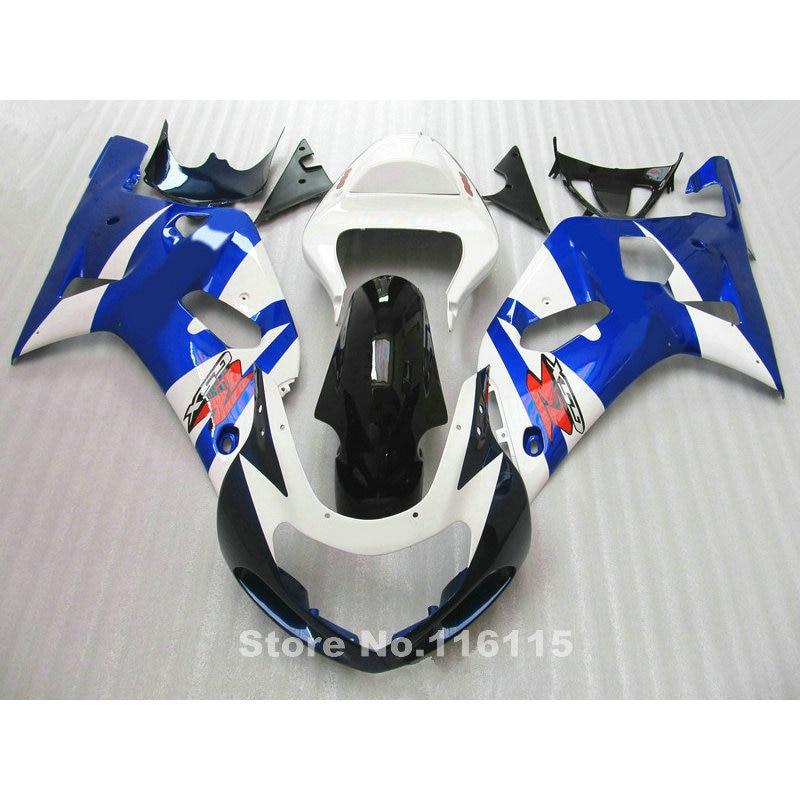 Moto carénage kit fit pour SUZUKI GSXR600 GSXR750 K1 2001 2002 2003 bleu blanc noir carénages GSXR 600 750 01 02 03 A412