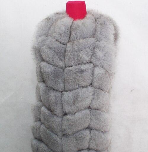 Linhaoshengyue 73 см длинные Высокое качество меха лисы Жилет натуральным лисьим мехом женские жилет - Цвет: light gray