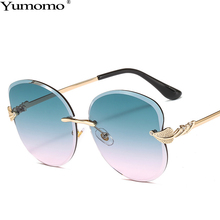Fashion Frameless Trimming Sunglasses Women Vintage Metal Gradient Diamond Personlity Leaf Shape Female Oculus De Sol Gafas