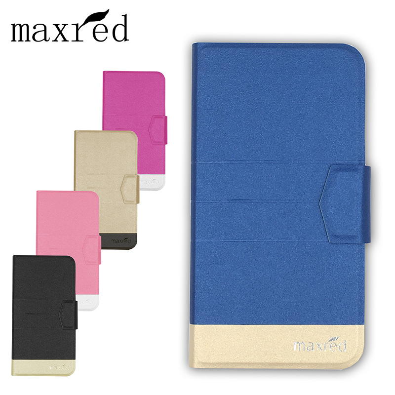 Maxred Fashion PU Leather Case Cover For Fly IQ4505 ERA Life 7 Flip Book Style Wallet Stand Cover camera hole With Card Slot