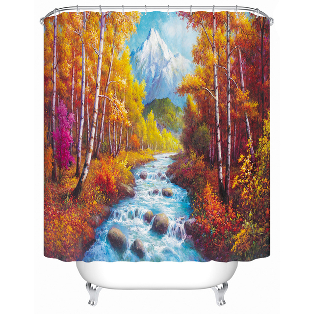 Charmhome Oil Painting Fall Scenery Shower Curtain Fabric Polyester Material Bathroom